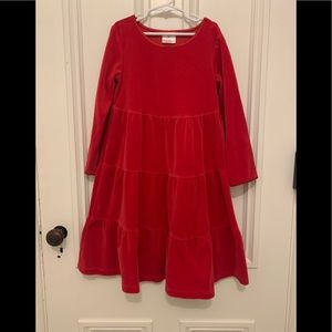 Hanna Andersson red velvet dress 120 size 6-7
